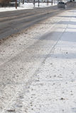 Snow On Road: Dangerous Driving Conditions Royalty Free Stock Photo