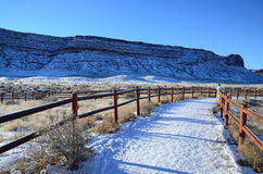 Snow road in Delicate Arch Viewpoint Royalty Free Stock Images