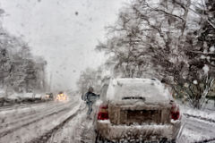 Snow on the road. First snow always big surprise for drivers and road services Stock Images