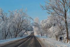 Snow road goes deep in winter magic wonderland. Beautiful landscape of snowfall road, blue sky, christmas vacation trip. Snow road goes deep in winter magic stock images