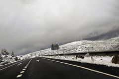 Snow in the road, at Huesca. Spain Stock Image