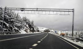 Snow in the road, at Huesca. Spian Royalty Free Stock Image
