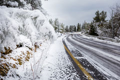 Snow road in Jerusalem. Royalty Free Stock Photography