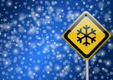 Snow - road sign Stock Images