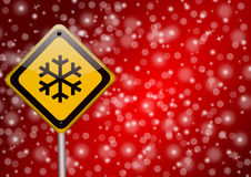 Snow - road sign Royalty Free Stock Photo