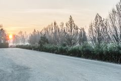 Snow on road. Royalty Free Stock Images