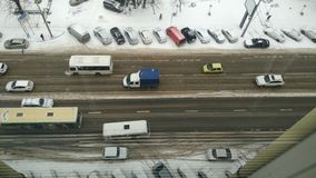Snow road. Traffic with car in Rostov-on-Don, Russia Royalty Free Stock Photo