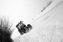 Snow road tractor Stock Photography