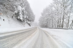 Heavy snow on the road Royalty Free Stock Images