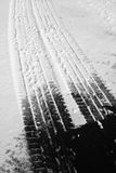 Snow on Roadway Driving Wintertime Snow Royalty Free Stock Images