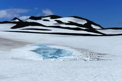 Ice lake in snow landscape with black hills on Fimmvörduhals mountain pass, Iceland stock photo