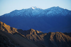 Snow and rock mountain range Ladakh ,India Stock Photos