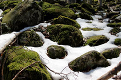 Snow and rocks Royalty Free Stock Images
