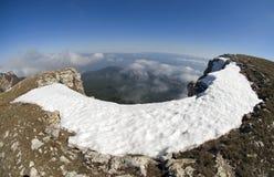 Snow on rocks Ah-petri in Crimea Stock Photo