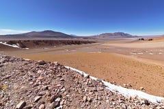 Snow and rocks in the Atacama desert. Chile Stock Photo