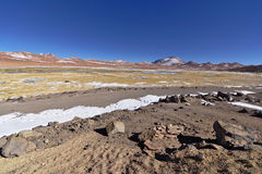 Snow and rocks in the banks of a salty lake. Snow and rocks in the banks of a salty lake in the Atacama desert, Chile Royalty Free Stock Photos