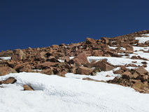 Snow and rocks with blue sky. On Pikes Peak Royalty Free Stock Photos