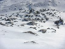 Snow and rocks Stock Images