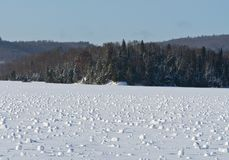 Snow Rollers on a lake a rare Meteorological phenomenon Stock Photo