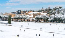 Snow in Rome in February 2018, panoramic view of the Circo Massimo with people playing. stock photos