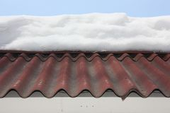 Snow on the roof high. photo stock photography