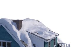 Snow on roof of house Stock Images