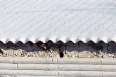 Snow on the roof of a house as a background Royalty Free Stock Photo