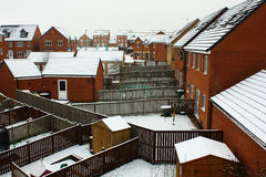 Snow on a roof in the village. Snow on a roof in the village on winter season at stockton on tees Stock Photography