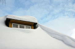Snow on the roof at winter Royalty Free Stock Image