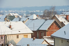 Snow roofs Stock Images