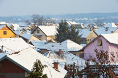 Snow roofs Royalty Free Stock Image