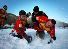 SNOW RUGBY INTERNATIONAL TARVISIO Royalty Free Stock Images