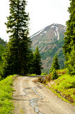 Snow runoff along a mountainous road. Stock Photography
