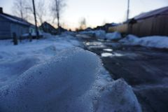 Snow in russian village royalty free stock photography