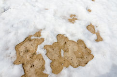 Snow on sand Stock Photo
