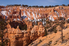 Snow on sandy slopes of Bryce Canyon, Utah, USA. Sandy slopes of Bryce Canyon, Utah, USA with snow Royalty Free Stock Photo