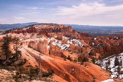 Snow on sandy slopes of Bryce Canyon, Utah, USA Royalty Free Stock Images