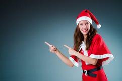 Snow santa girl in christmas Stock Photos