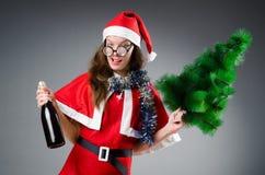 Snow santa girl in christmas Stock Images