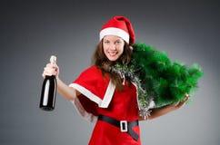 Snow santa girl in christmas Royalty Free Stock Photography