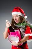 Snow santa girl in christmas Royalty Free Stock Image