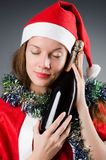 Snow santa girl in christmas Stock Photography