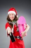 Snow santa girl in christmas Stock Photo