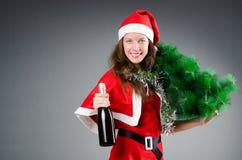 Snow santa girl in christmas Stock Image