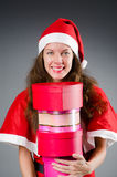 Snow santa girl Royalty Free Stock Photography