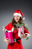 Snow santa girl in christmas Royalty Free Stock Images