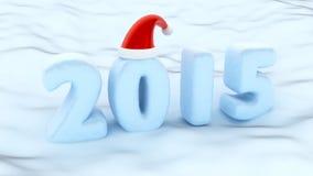 2015 Snow santa hat. 2015 Snow winter white cotton Stock Photo
