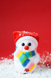 Snow santa on the red with space for text Royalty Free Stock Photo