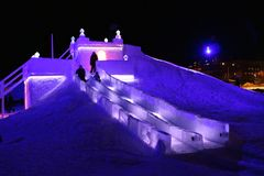 Snow castle the South Harbour in Luleå Royalty Free Stock Photos