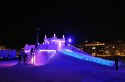 Snow castle the South Harbour in Luleå Royalty Free Stock Photo
